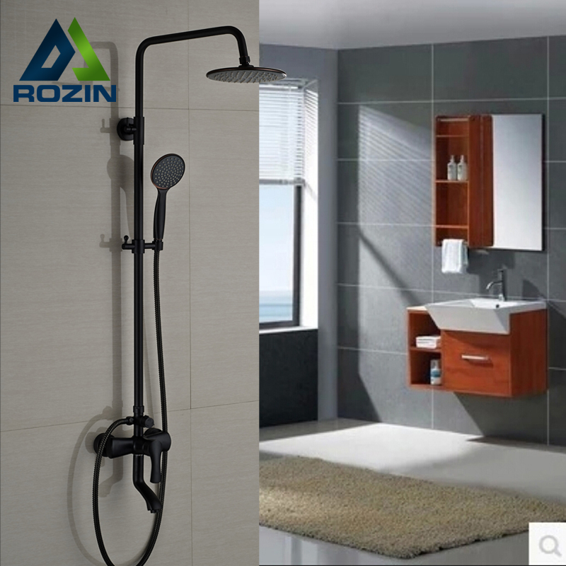Brand New Rotable Lifting Type Shower Faucet Set Wall Mount Outdoor 8 Rainfall Tub Shower Mixer Taps
