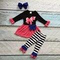 Otoño/invierno boutique de algodón traje ropa niños rayada del lunar de impresión unicornio pant trajes niñas bebés accesorios arco a juego