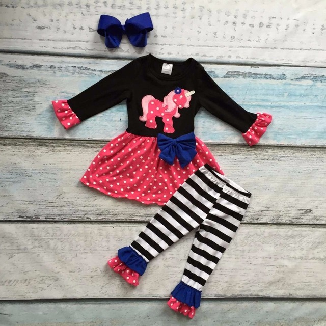 fall/winter boutique cotton clothing suit kids unicorn print striped polka dot pant outfits baby girls matching accessories bow