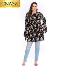 Islamic Clothing Long-Tops Women Dress Short with Belt Irregular Plus-Size Floral