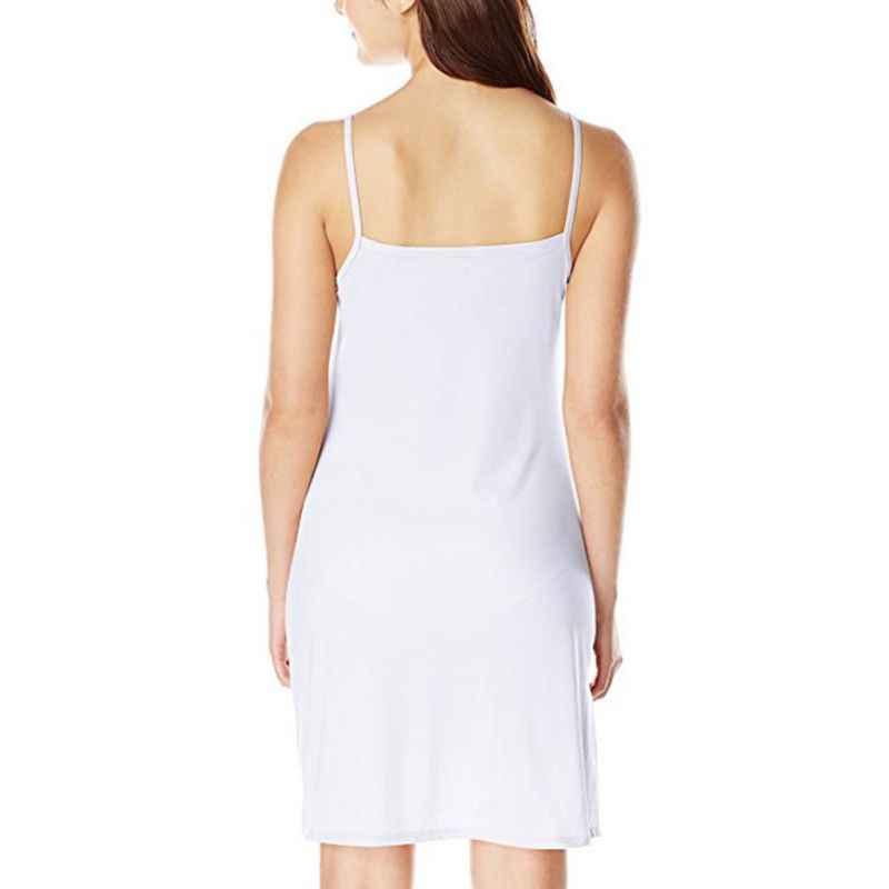 24bd2be02d15 ... Women Casual Solid Spaghetti Short Dress Smooth Sleeveless Dress Slips  Under Dress ...