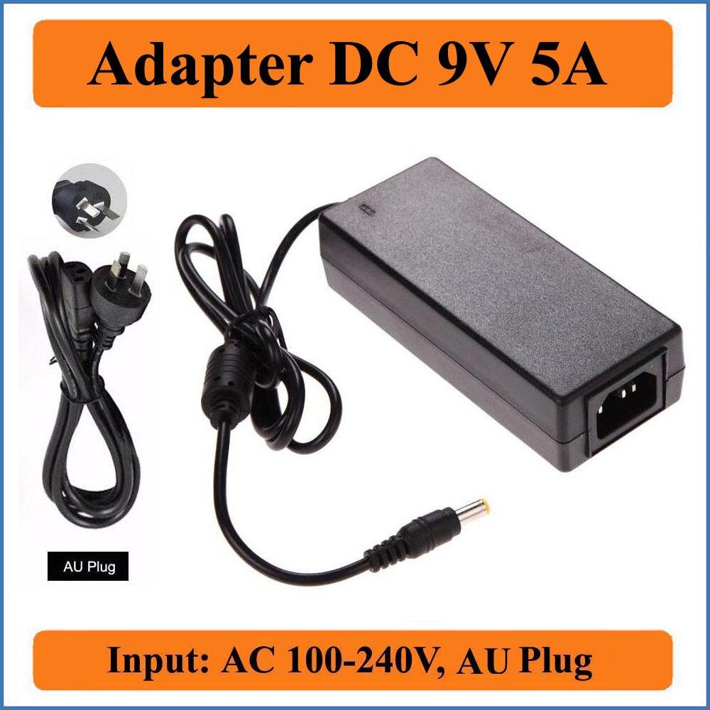 9v 5a au plug ac dc adaptador de alta qualidade ac 100v-240v conversores de comutação adaptador de alimentação para dc9v 5000ma fonte 5.5mm x 2.1-2.5mm