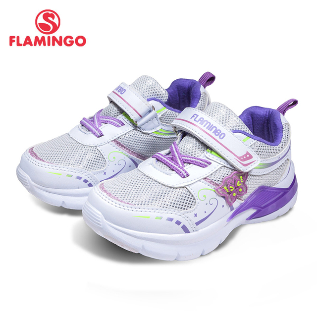 Фламинго 2018 Новое поступление воздухопроницаемая комфортная обувь весна и осень Hook & Loop кроссовки для девочек с светодиодный бесплатная доставка 81k-bk-0586
