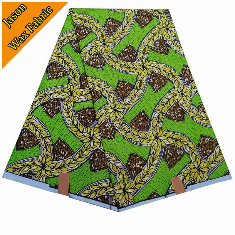 New design arrival green ankara fabric super wax african prints fabric wax 6yards 100% polyester fabric for dress / LBL