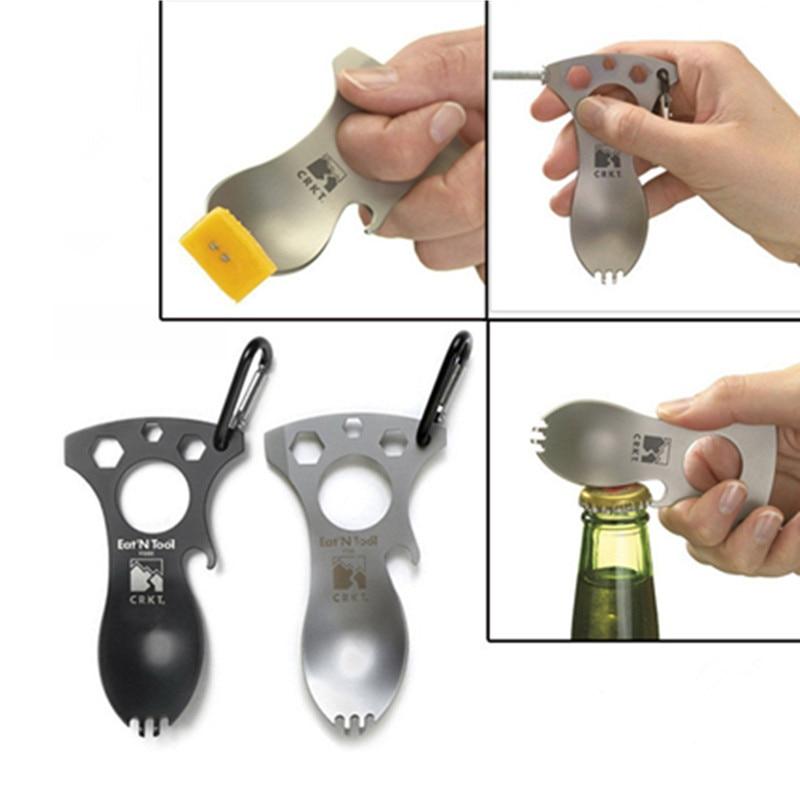 EDC стальная ложка для кемпинга на открытом воздухе, Ранняя кухонная утварь для пикника, карманная открывалка для бутылок, отвертка, выживани...