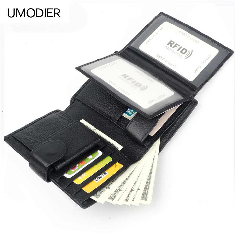 UMODIER Pocket Wallet Passport Brand Purse Male Large-Capacity Genuine-Leather Credit