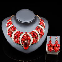 Parure Bijoux Femme Nigerian Wedding Beads African Jewelry Gold Plated Necklace And Drop Earrings Six Colors