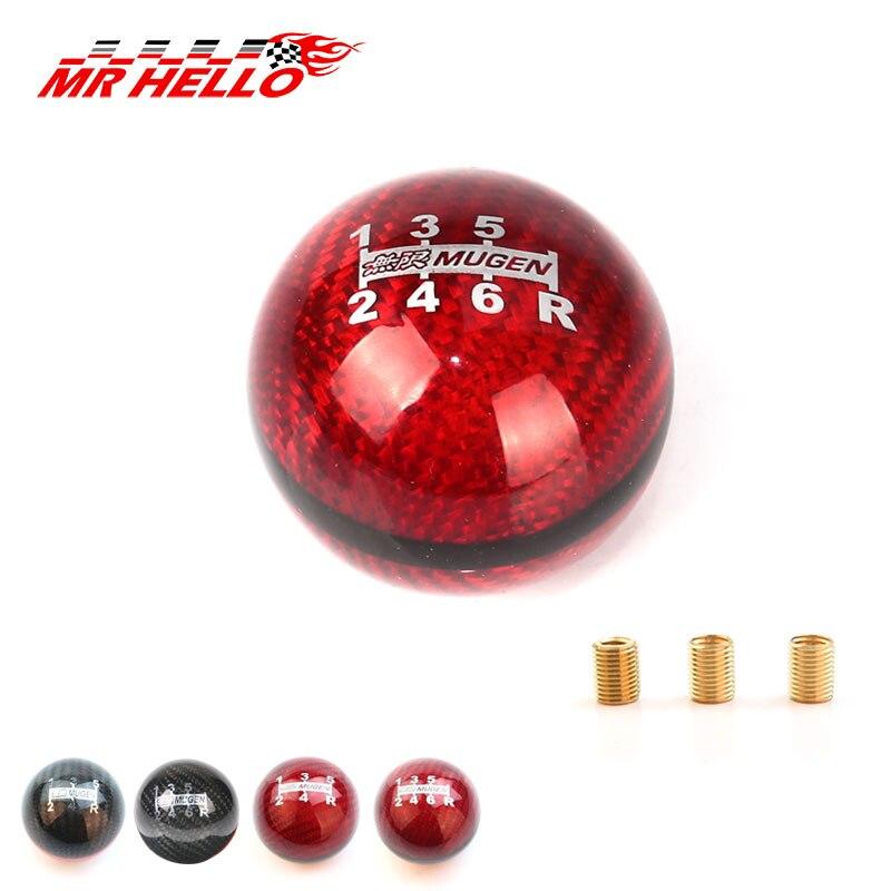 цена на JDM style black/red line 5/6 Speed M12X1.5/M10X1.5/M10X1.25 Mugen Carbon Fiber Gear Shift Knob For Honda Acura/TOYOTA/NISSAN