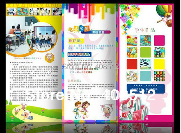 free shipping 1000pcs 200gsm art paper custom printed fliers three