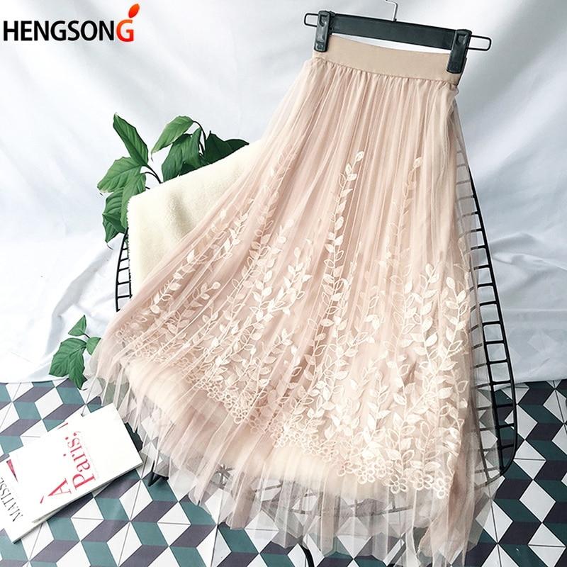 HENGSONG Elegant Tulle Long Pleated Skirt Women 2018 Summer Floral Embroidery A-line Tutu Lace Mesh Skirt Women Midi Skirt