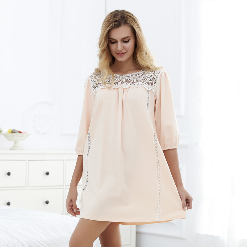 New Arrival High Quality Women's summer Pure Cotton Princess Nightgowns Lady Plus Size Nightdress Homewear Lounge  61307