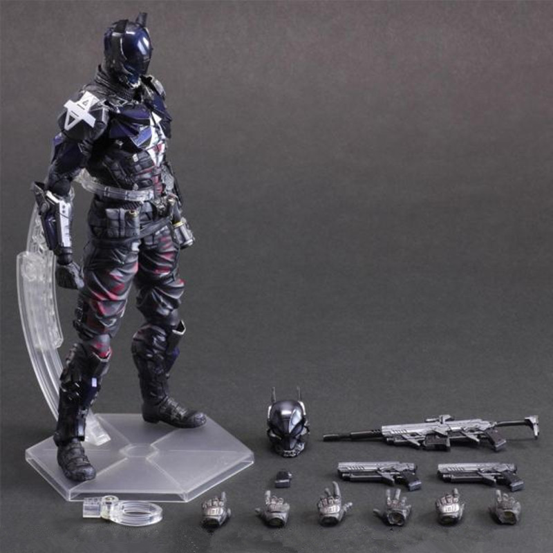 27 CM Batman: Arkham Knight Play Arts KAI Bruce Wayne Arkham Knight Justice League DC Cartoon PVC Action Figue Toy Model L1077 the avengers infinity war batman arkham knight play arts kai 27cm bruce wayne dc comics pvc action figure model toys l1060