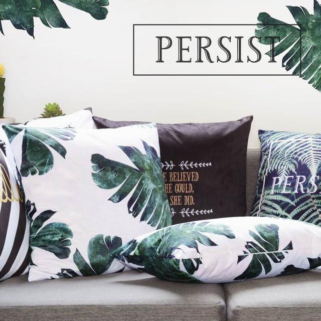 Nordic Green Plants Cushions Leaves Decorative Pillowcase Sofa Throw Pillows Black White Printing