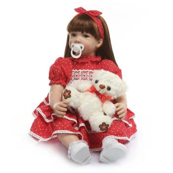 60cm Lifelike Baby Bonecas Girl very Big reborn Toddler Princess Handmade Silicone Vinyl Adorable Kid Bebe Doll Reborn Menina warkings reborn
