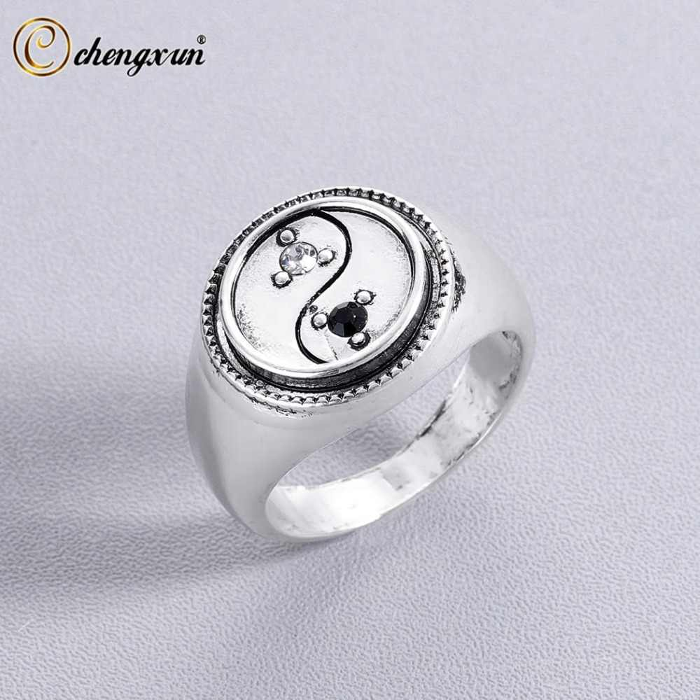 CHENGXUN Yin Yang  Signet Ring for Men Unique symbol Male Stylish Antique Unique Vintage Engraved Party Boyfriend Gift