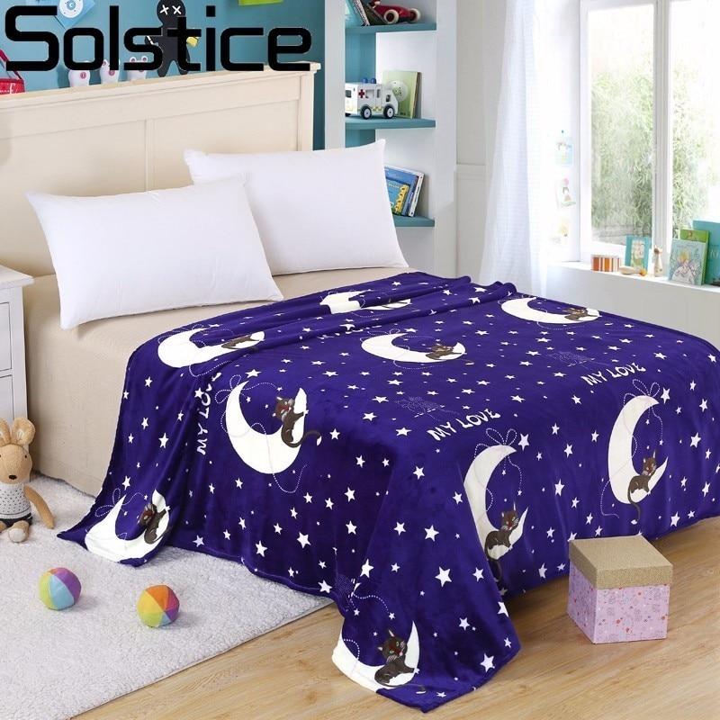 Solstice Blue Cartoon Moon Star Pattern Coral Cashmere Blankets Children Printed Flannel Blanket Sofa/TV/bed Sheet Blanket