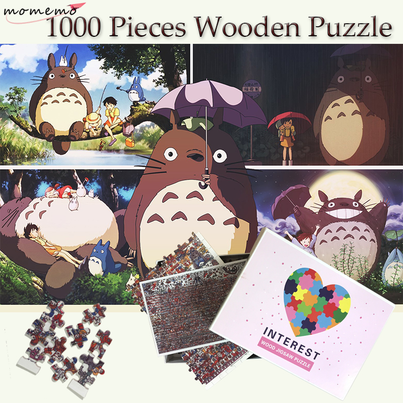 MOMEMO My Neighbor Totoro Adult Puzzles 1000 Wooden Puzzle Jigsaw Wooden Toys Puzzle Games 1000 Pieces Puzzle Toys for Children