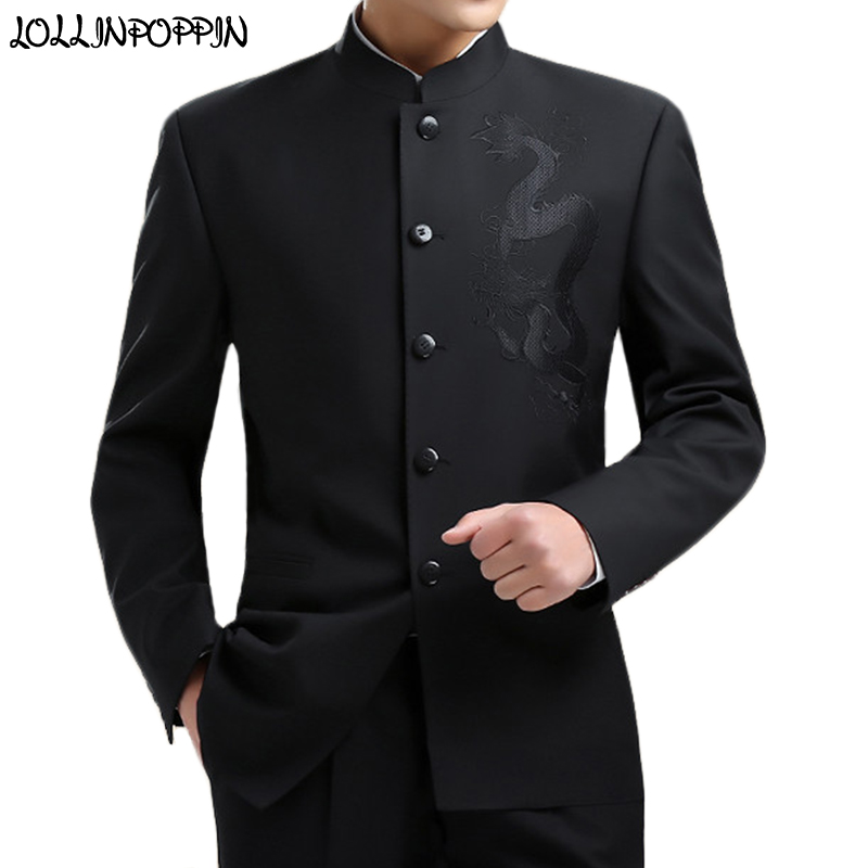 Suit Jacket Coat Tunic Mandarin-Collar Kung-Fu Chinese-Style Mens Black New Dragon Embroidery