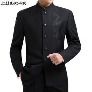 Suit Jacket Coat Mandarin-Collar Embroidery Chinese-Style Mens Black Tunic Dragon Kung-Fu