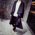 2016 New fashion men irregular cape type long trench coat design male cool turn-down collar no button cardigan outerwear / M-XXL