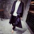 2016 nuevos hombres de tipo irregular capa larga trinchera abrigo de diseño para hombre fresca da vuelta abajo ningún botón cardigan prendas de vestir exteriores / M-XXL