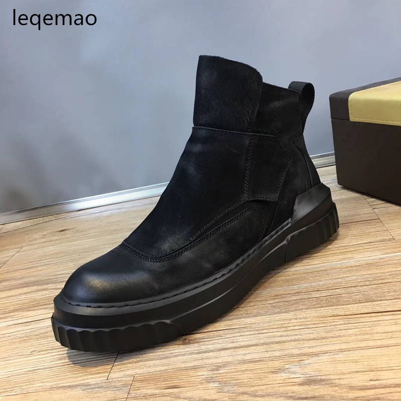 2018 New Fashion Spring Autumn Men Basic Sneakers High-Top Zip Black Genuine Leather Luxury Brand Man Flats Casual Shoes 38-44 spring autumn fashion men high top shoes genuine leather breathable casual shoes male loafers youth sneakers flats 3a