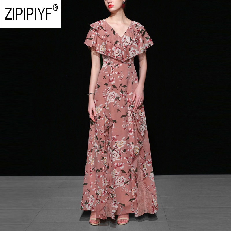 2019 Summer Bohemian Dresses Floral Printing Short Sleeve Ball Gown V Neck Beach Dresses  Evening Elegant Casual Dresses Z1194