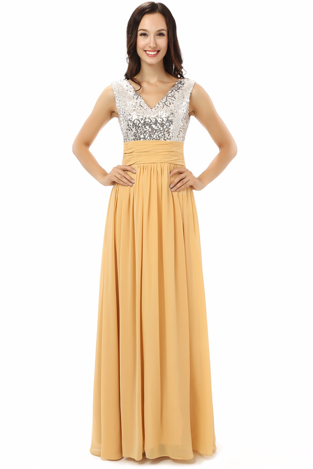 H S Bridal Silver Sequins V Neck Yellow Chiffon Women Dresses Long Bridesmaid In From Weddings Events On