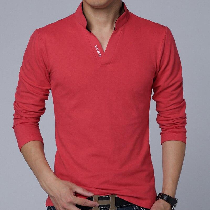 Heißer VERKAUF 2019 Mode Marke Männer Kleidung Einfarbig Langarm Slim Fit T Shirt Männer Baumwolle Polyester T-Shirt Casual top t 5XL