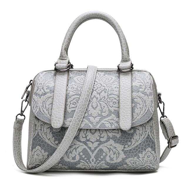 Luxury Women Boston Bags Vintage PU Leather Tote Bag Female Embossed Designer Handbags Crossbody Bags For Women 2017 Sac A Main