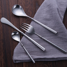 16pcs Western Matte Vintage Cutlery 18/8 Stainless Steel Silver Dinner Set Knives Forks Scoops Luxury Restaurant Tableware Sets
