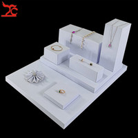 Portable Cube White PU Jewelry Display Counter Showcase Wooden Pendant Necklace Earring Board Stand Ring Flower Tray4 8Pcs/lot