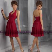 Cheap custom plus size chiffon short backless bridesmaid dresses halter neck knee length party dress vestido de festa casamento