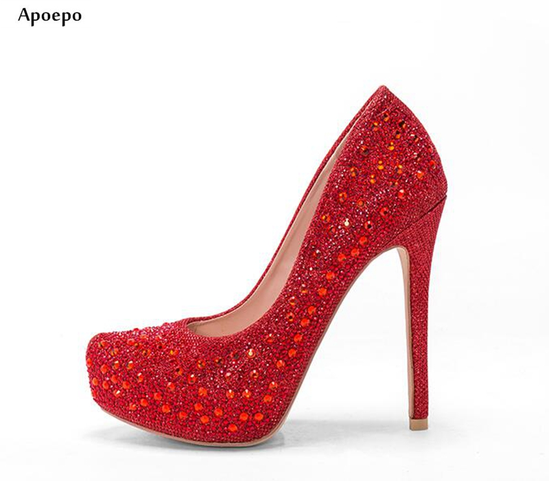 New Hot Selling Red Crystal Embellished High Heel Shoes Sexy Platform Pumps for Woman 2018 High Quality Leather Shoes hot selling crystal embellished wedding heels sexy peep toe platform pumps woman high heel shoes