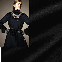 The genuine winter zero cloth black woollen cashmere fabrics imported high end wool coat fabrics
