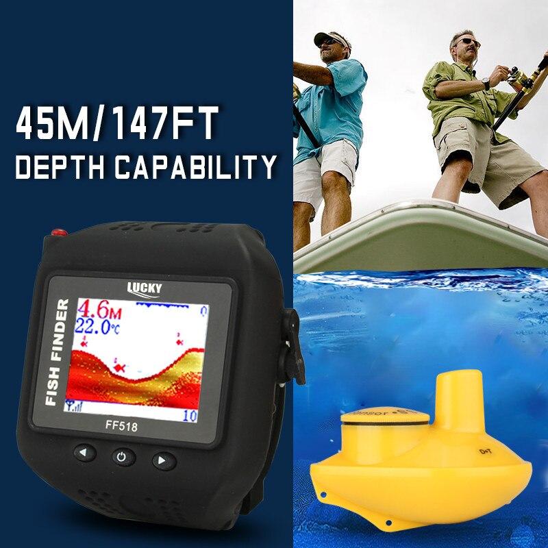 8edfe6bf8c4 Marca sorte Inventor Dos Peixes Sem Fio Relógio de Pulso À Prova D  Água  Embutida Bateria Detecção Sonar 180ft 60 m Pesca Assista FF518 em  Localizadores de ...