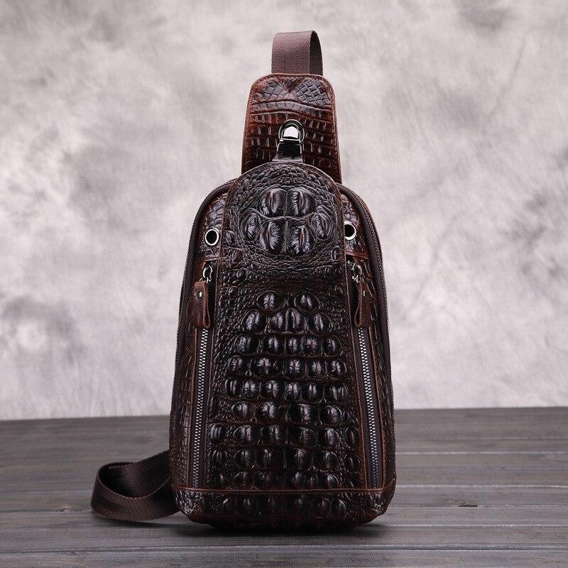 Sacs de poitrine pour hommes motif Crocodile sac de poitrine en cuir véritable huile cire de vache sac messager à fermeture éclair décontracté hommes sac de poitrine de voyage