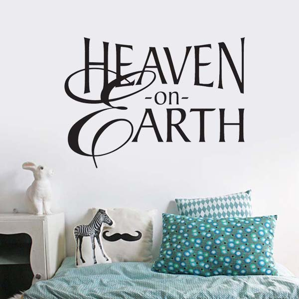 Removable heaven on earth religious wall stickers say quote word lettering living room art vinyl