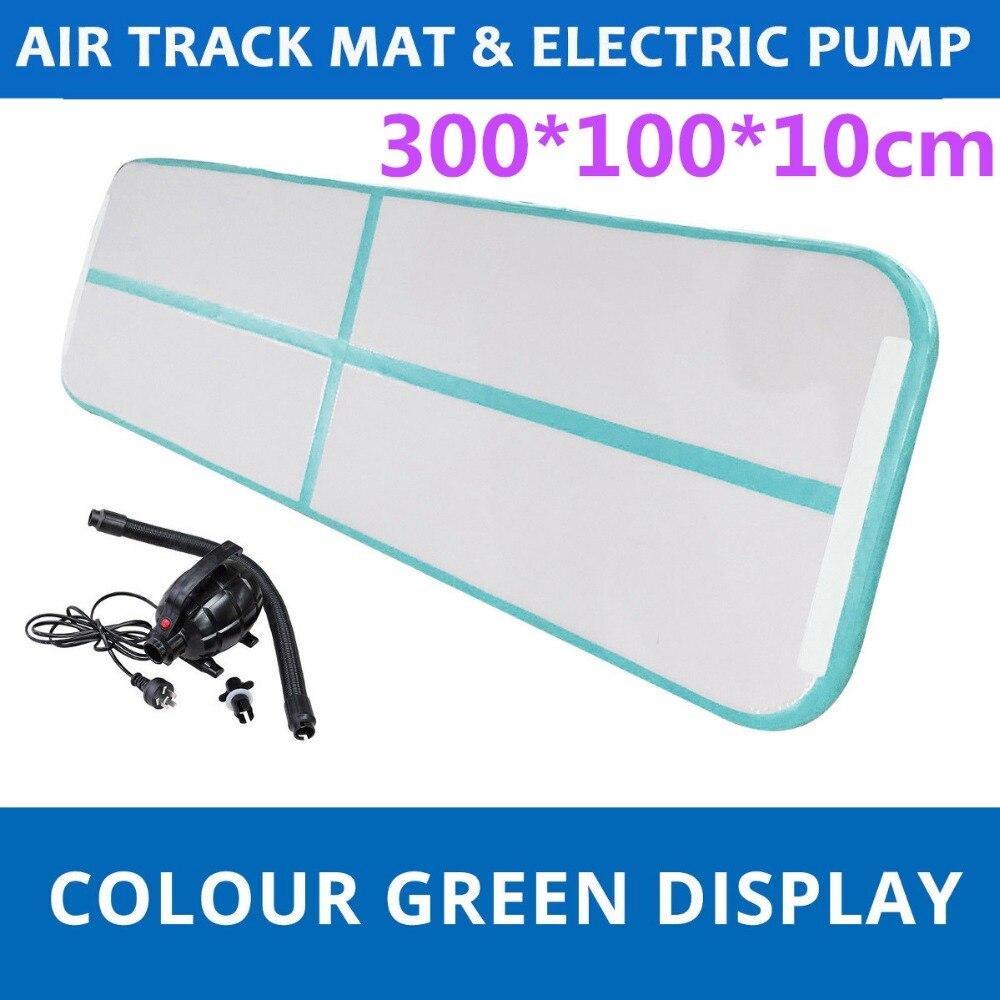 Gofun 118x35x4 pouce Gym Air Piste Tapis de Sol Maison Gymnastique Tumbling Gonflable Tapis Roulant Avec Air pompe Menthe Vert