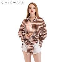 CHICWAYS Seide Streifenhemd Rüschehülse Bogen Vorne Taille Bandage Sexy Tops Elegante Lose Beiläufige Lange Hülse Nur Eine Größe