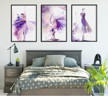 Purple Beautiful Dancer Oil Painting for Living Room Wall Art Canvas Poster Fashion Home Decoration Unframed