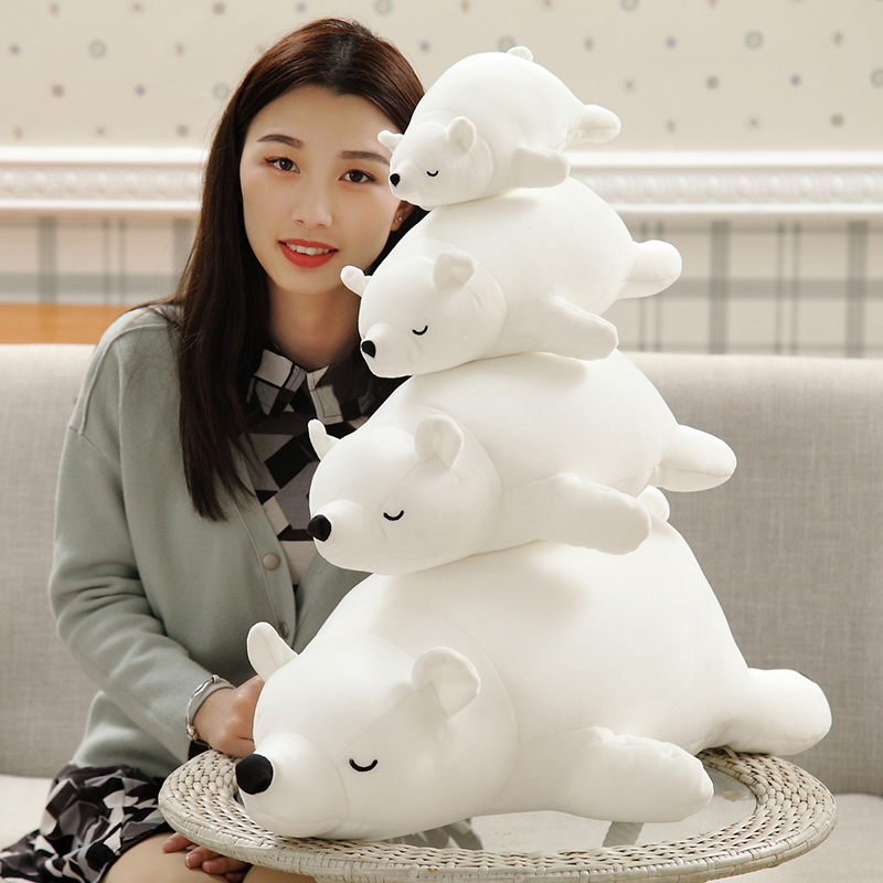 50/70cm Polar Bear Plush Toy Stuffed White Bear Plush Foam Partical Doll for Kids & Girls Soft Toys with Bamboo charcoal