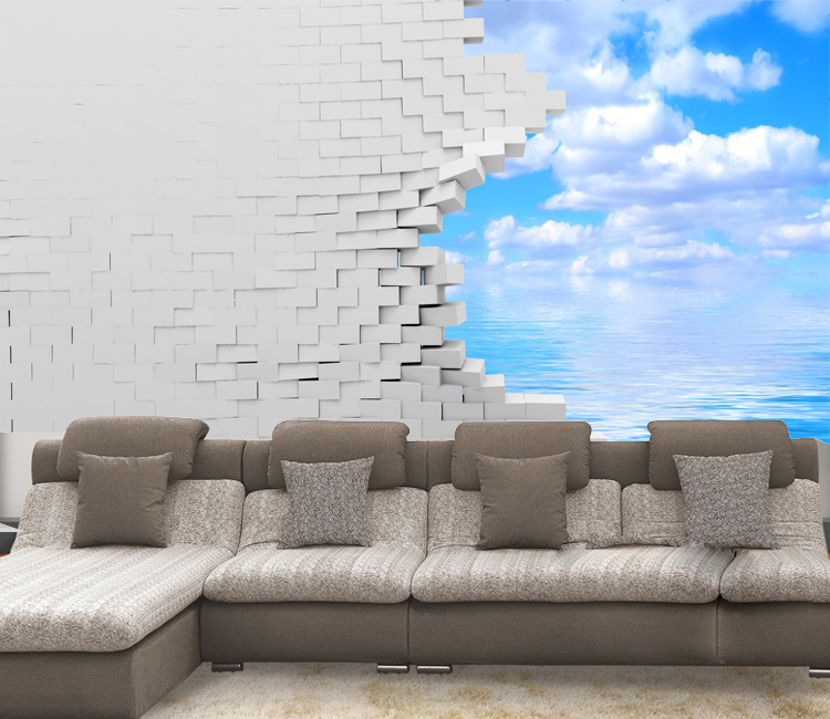 Modern mural wall paper sofa tv photos papel de parede 3d for Waterproof wallpaper for walls