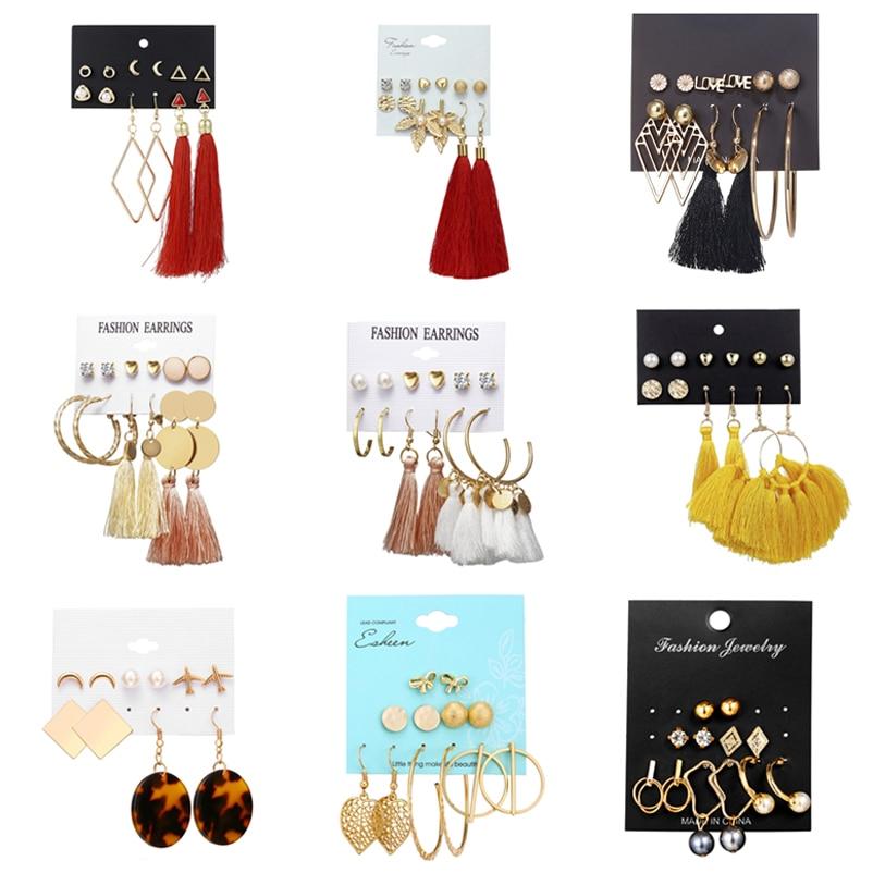 New Fashion Hoop Earrings For Women Aros Geometric Vintage Rhombus Crysta Big Earrings Set 2019 Female Bohemian Jewelry Aretas screaming goat figurine