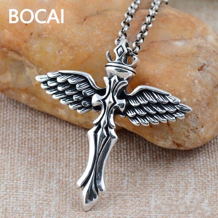 En gros 925 bijoux en argent sterling argent rétro ailes d'ange pendentif croix xh025174w