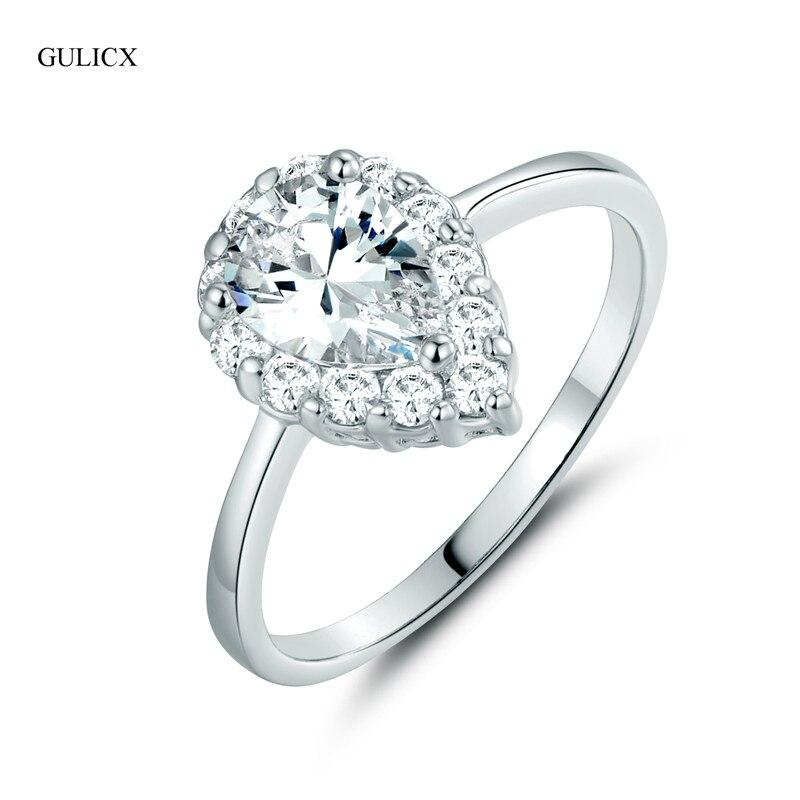 gulicx brand new fashion teardrop crystal ring for women white gold color water drop crystal cz zircon wedding jewelry r161 - Teardrop Wedding Rings