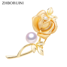 ZHBORUINI 2019 Classic Natural Freshwater Pearl Brooch Copper Frosted Simple Rose Jewelry For Women Not Fade Gift