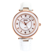 Fashion SKMEI White Leather strap Women Watches Waterproof Ladies Quartz Watch Girl Dress