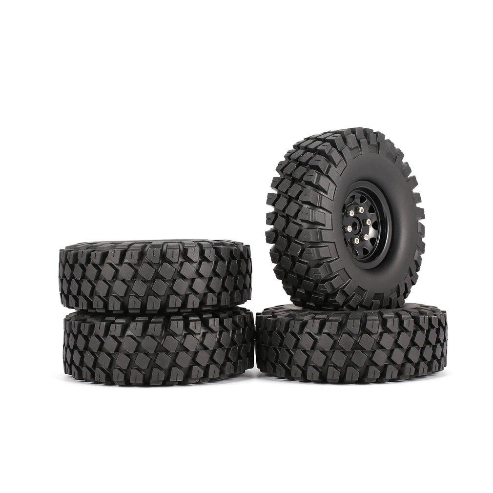 4 pièces AUSTAR AX-6020 1.9 pouces 110mm pneus en caoutchouc pneu avec jante en métal ensemble pour 1/10 Traxxas TRX-4 SCX10 RC4D90 RC CrawlerCar