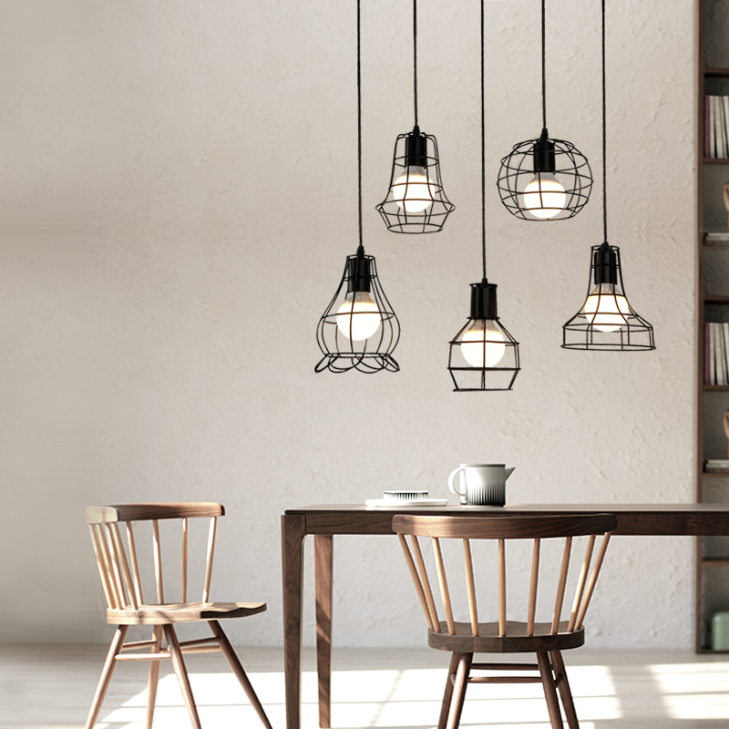 US $41.76 13% OFF|Antique black steel Kitchen lighting dining room showcase  Vintage pendant lights Industrial indoor lighting Suspension Luminaire-in  ...